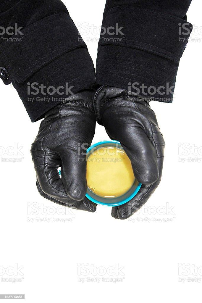 Mug and Black Gloves royalty-free stock photo