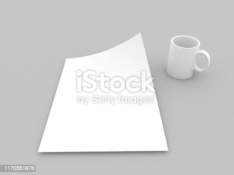 istock Mug and realistic sheet of paper mock up . 1170581678