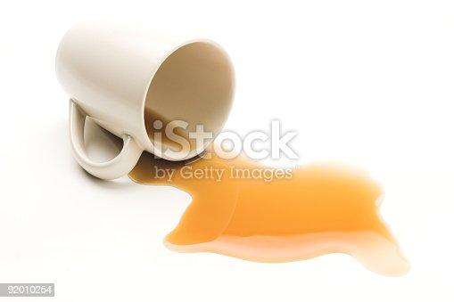istock Mug knocked over with spilt coffee on white background 92010254