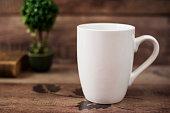Mug Mockup. Coffee Cup Template. Coffee Mug Printing Design Template. White Mug Mockup, Old Book and Flower, Wooden Background. Blank Mug. Mockup Styled Stock Product Image