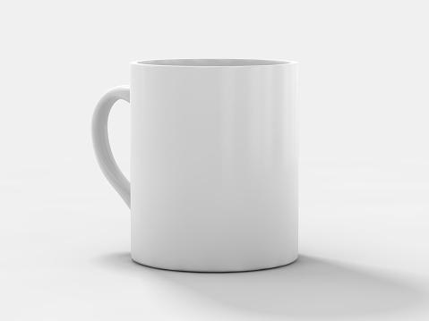Mug Mockup standing on the surface. 3D rendering