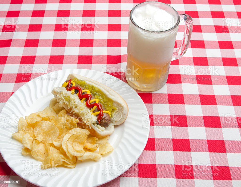 Mug of beer and lunch royalty-free stock photo