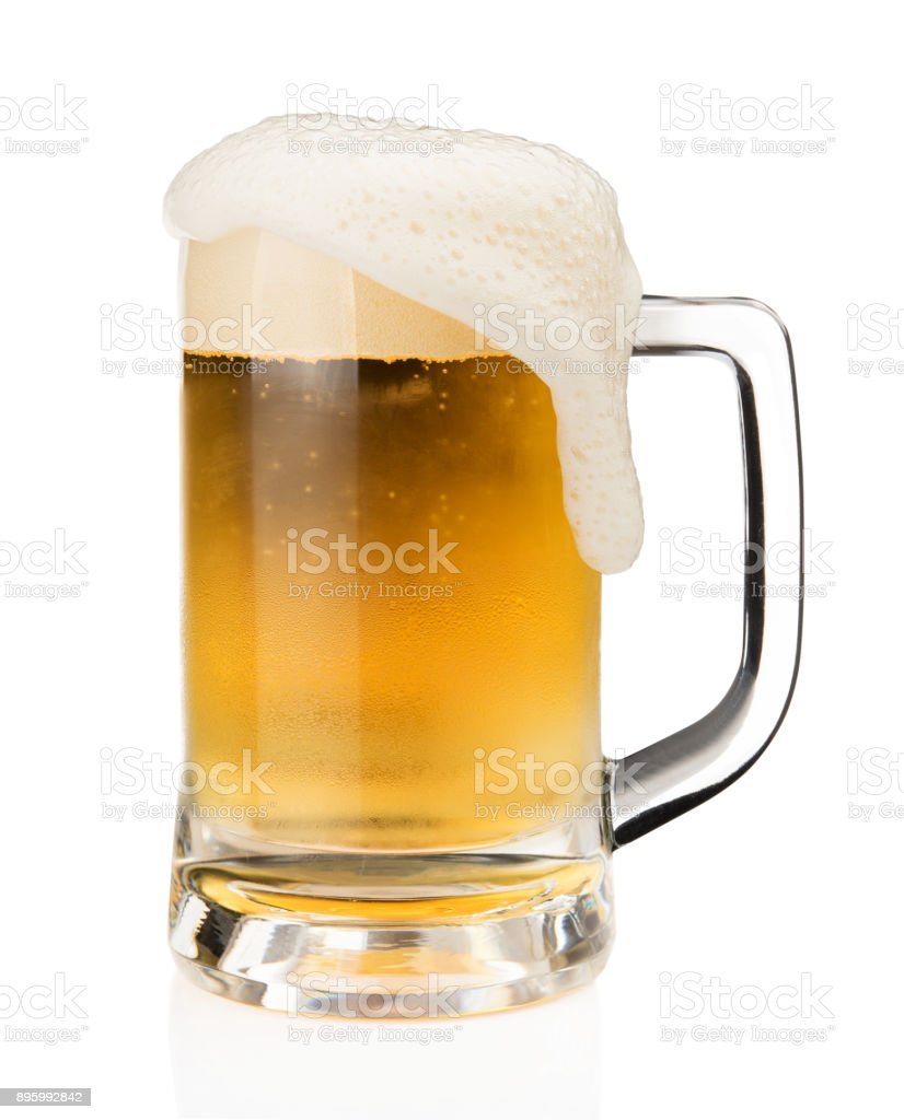 Mug of beer with froth foam on glass isolated on white background with clipping path object design stock photo