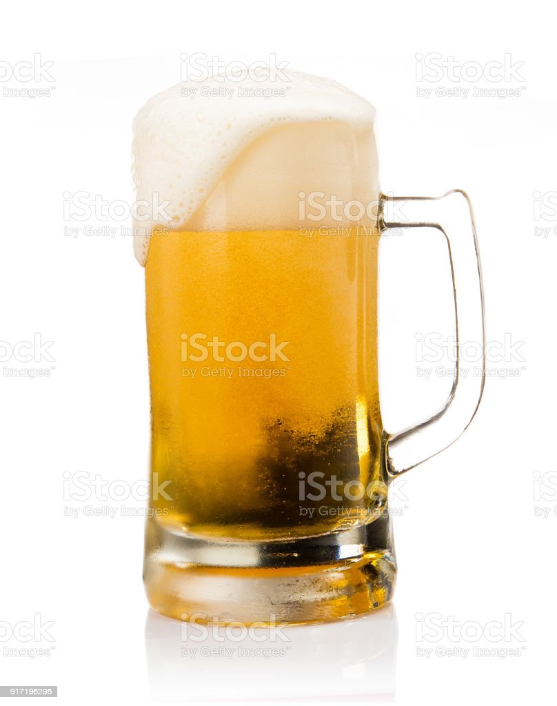 Mug of beer with froth foam on glass isolated on white background food and drink object design stock photo