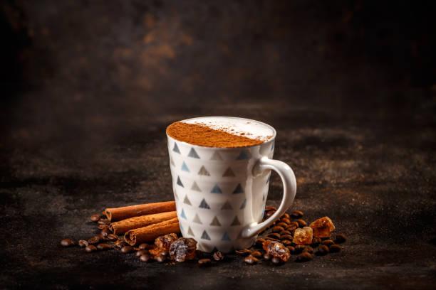 Mug of cappuccino stock photo