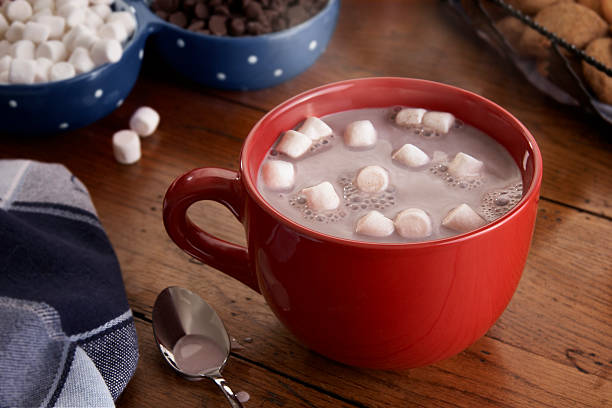 mug of hot chocolate and marshmallows - hot chocolate stock photos and pictures