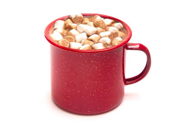 a mug of hot chocolate in a red metal mug - hot chocolate stock photos and pictures