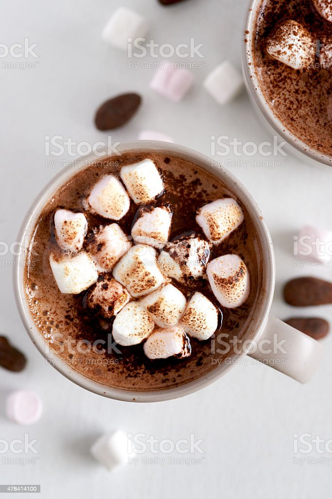 Mug of hot chocolate stock photo