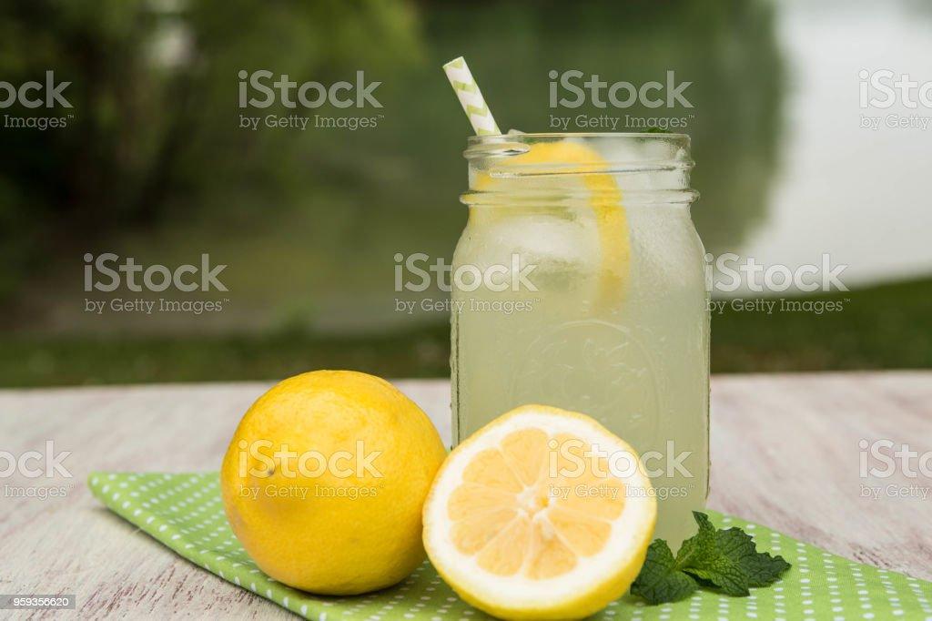 Mug of Lemonade By The Lake stock photo