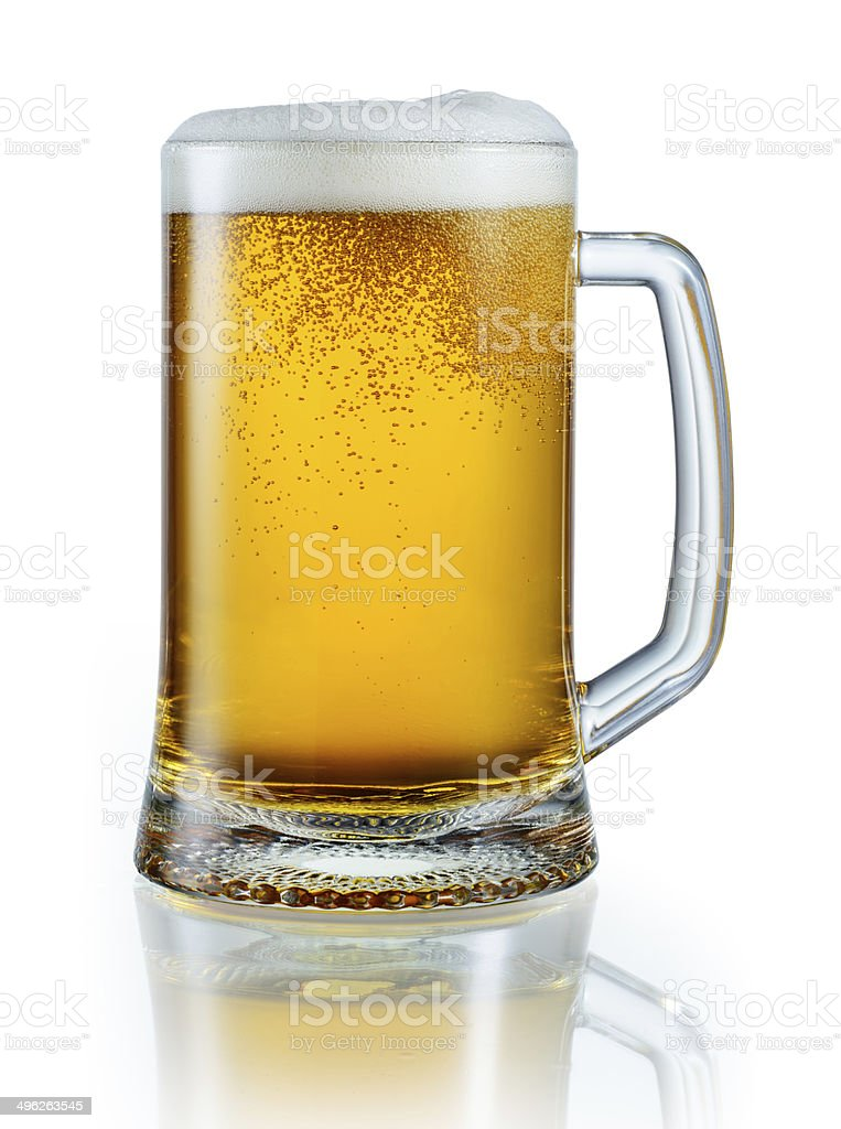 Mug of light beer isolated on white. With clipping path stock photo