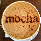 Mug of Mocha with Caffe Froth Art Text - directly above, looking down