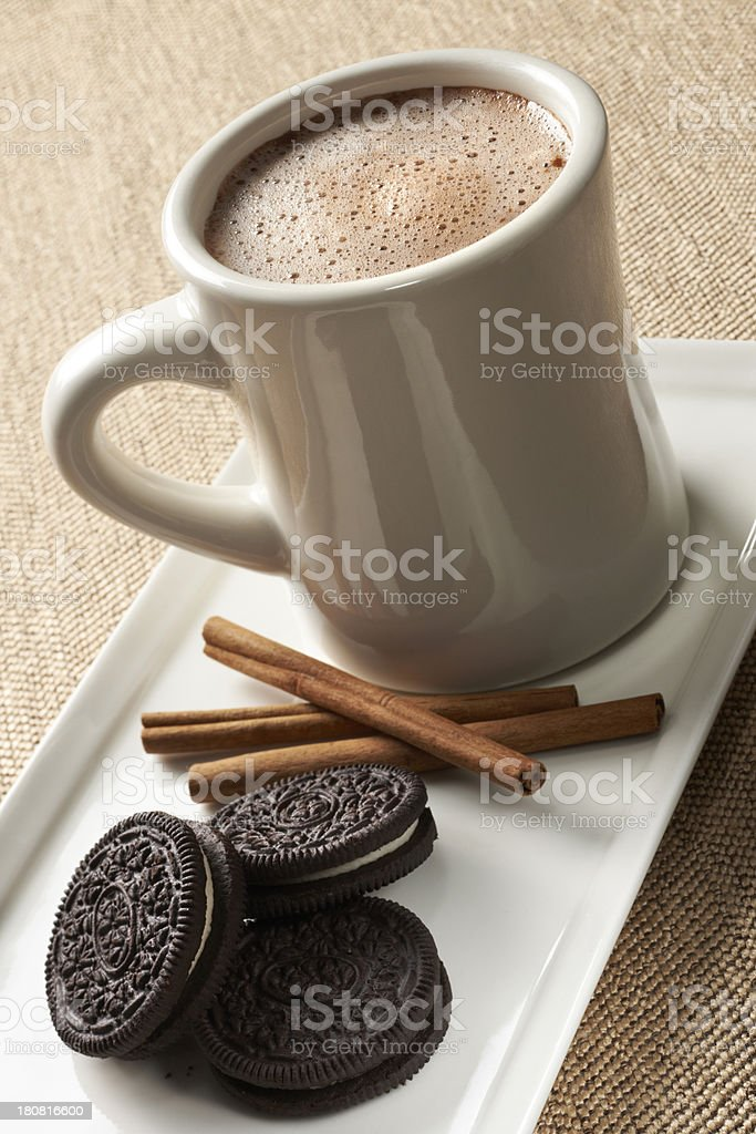 Mug of Spiced Hot Chocolate stock photo