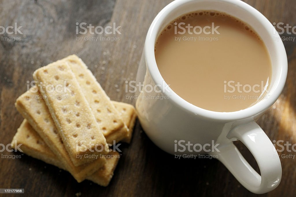 Mug of tea with Shortbread biscuits. stock photo