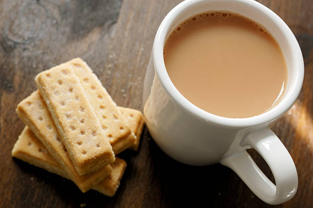 Mug of tea with Shortbread biscuits.