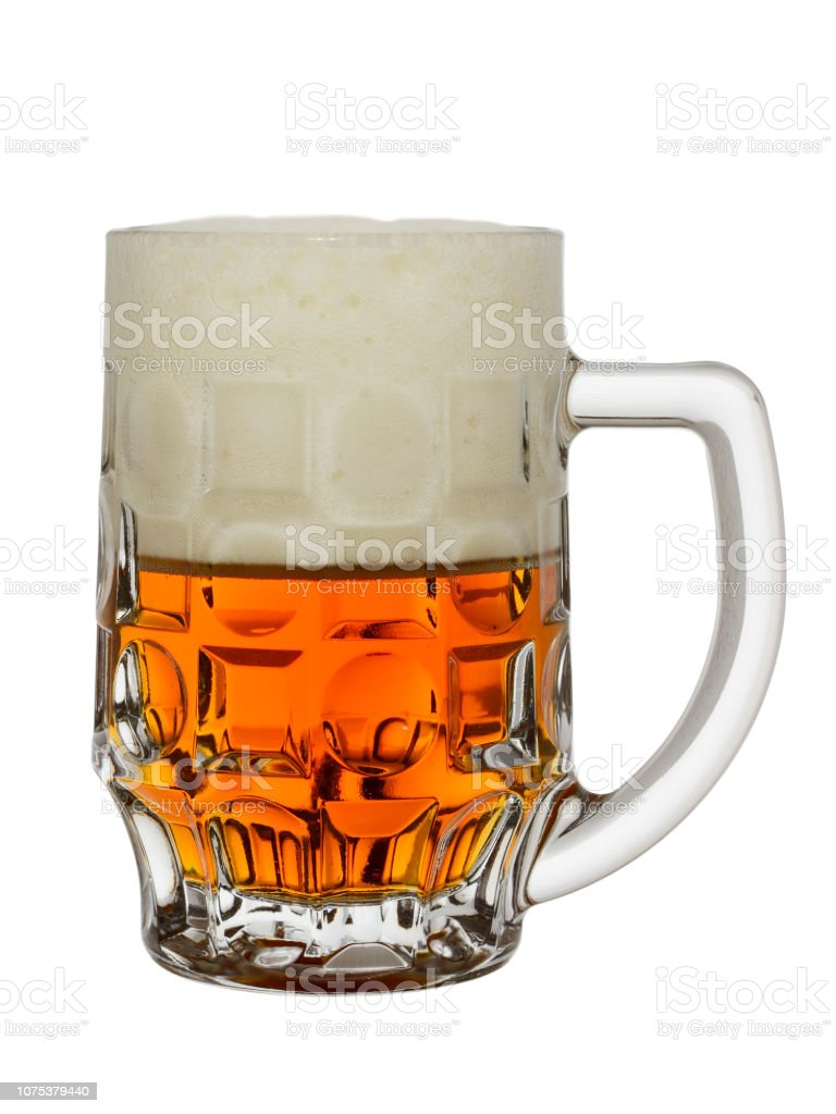 mug with amber beer and big foam on a white background stock photo