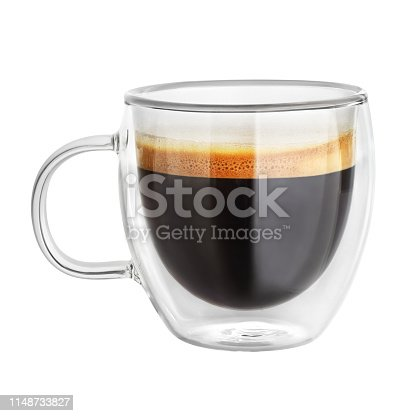 Transparent double wall glass mug with espresso coffee isolated on white background