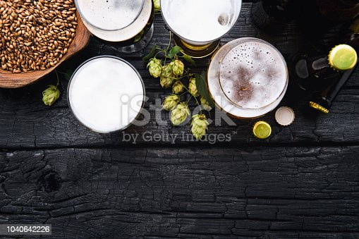 Glass of beer with green hops and wheat. Top View