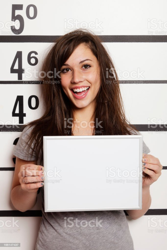 Mugshot of a Woman stock photo