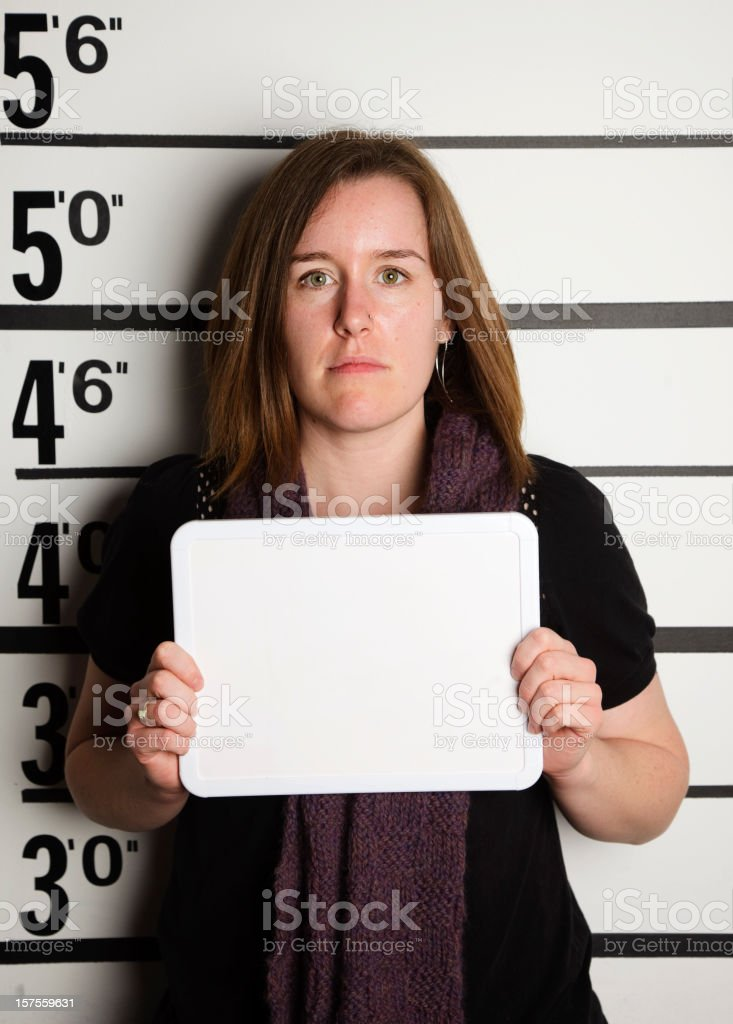 Mugshot of a Woman royalty-free stock photo