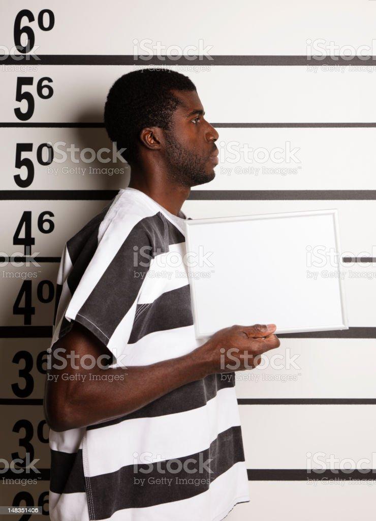 Mugshot of a Young Man stock photo