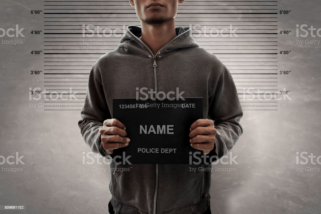 Mugshot of criminal stock photo