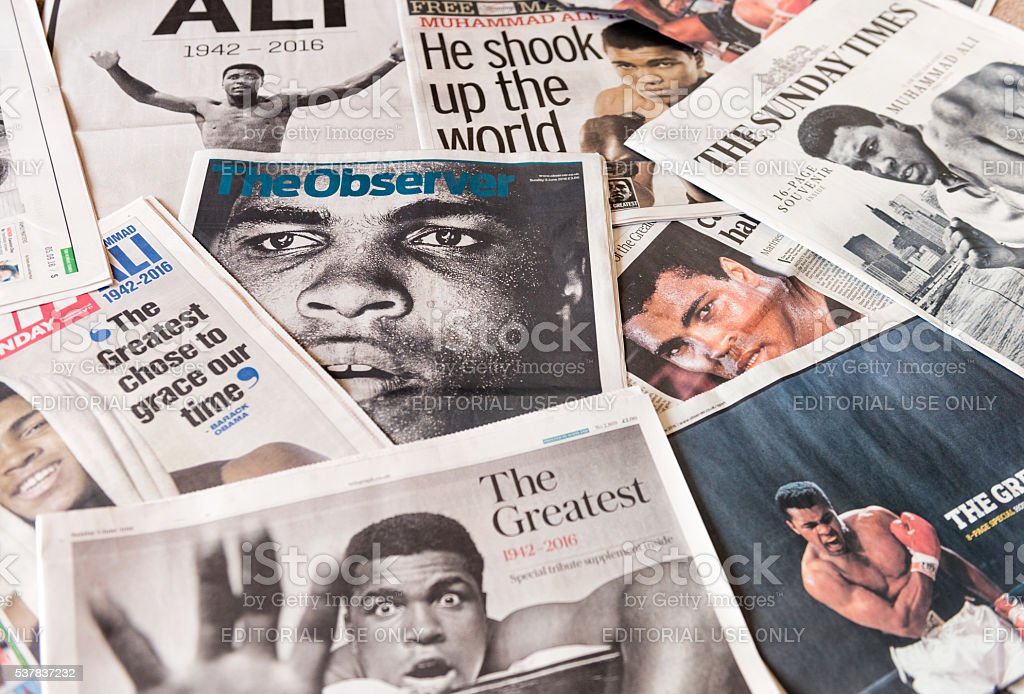 Muhammad Ali featured on UK newspaper front pages stock photo