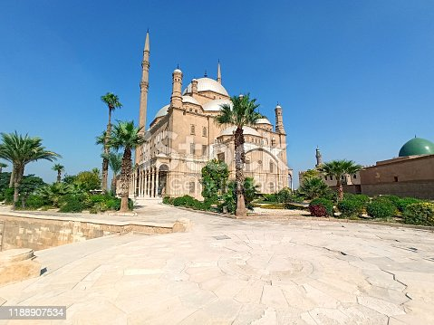 Super wide angle photo for the magnificent Muhammad Ali mosque - Alabaster mosque at Cairo Egypt.