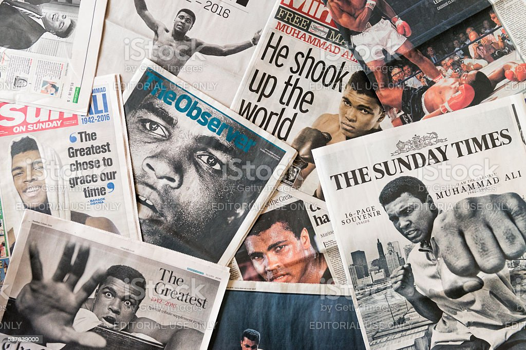 Muhammad Ali on newspaper front page tributes stock photo