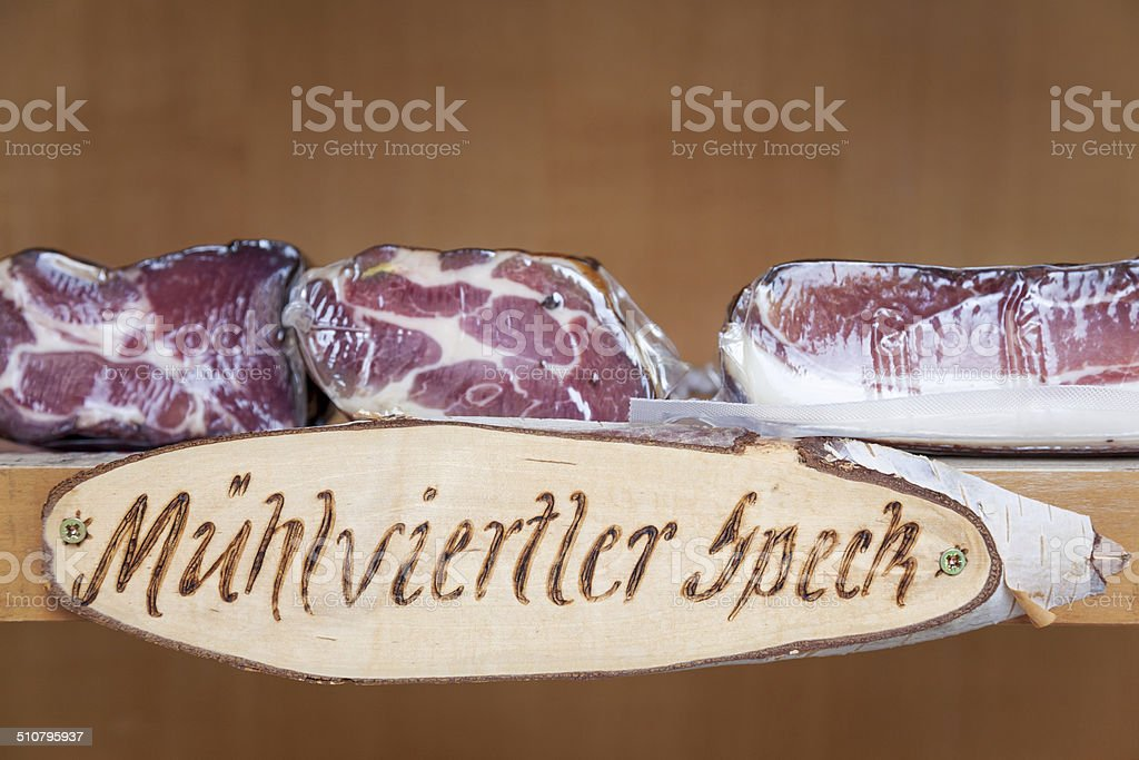 Muhlviertler bacon from Austria stock photo