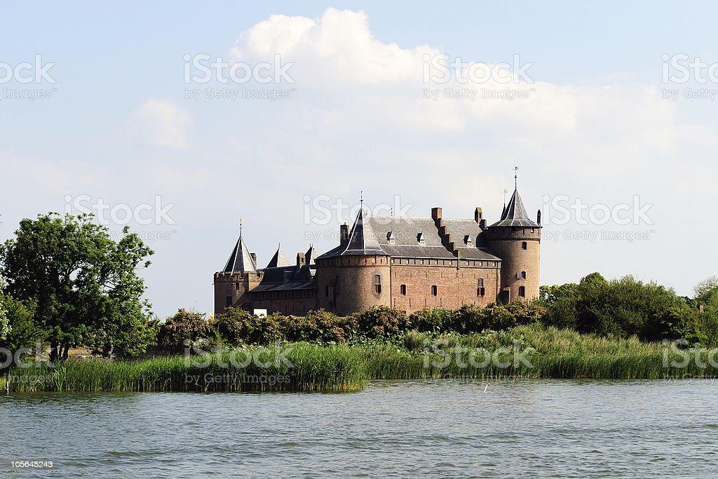 Muiden castle along the river Vecht stock photo