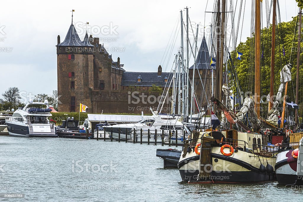 Muiden castle with boats stock photo