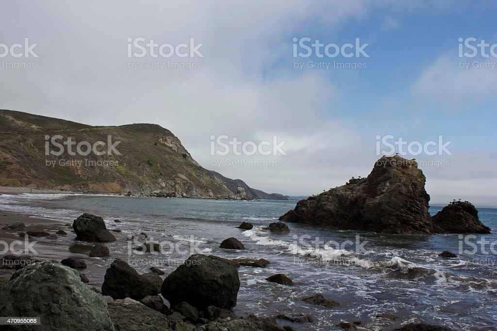 Muir Beach, California, a pacific landscape through Pacific Ocean stock photo