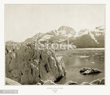 Antique Alaskan Photograph: Muir Glacier, Alaska, 1893: Original edition from my own archives. Copyright has expired on this artwork. Digitally restored.