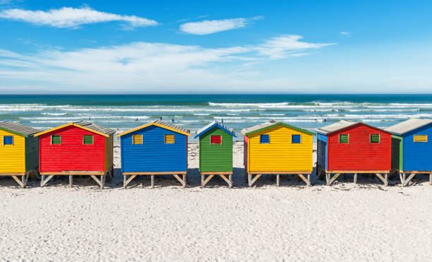 muizenberg beach symmetry in south africa - cape peninsula stock pictures, royalty-free photos & images