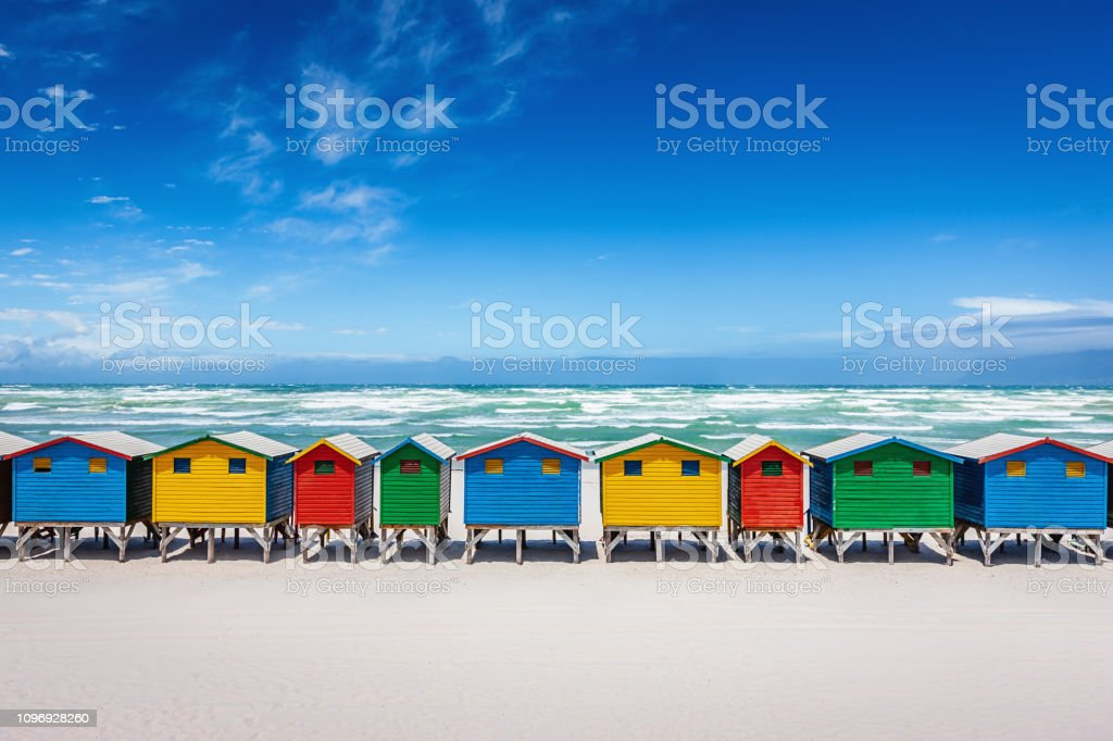 Muizenberg Colorful Beach Huts Cape Town South Africa stock photo
