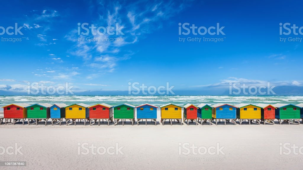 Muizenberg Panorama Colorful Beach Huts Cape Town South Africa stock photo