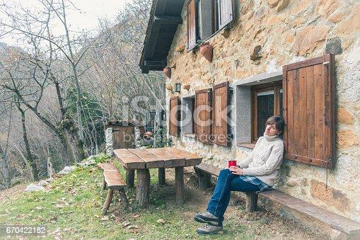 Mujer tomando caf en casa de campo ponga asturias espa a woman having a coffee in an hut in the - Casa de campo asturias ...