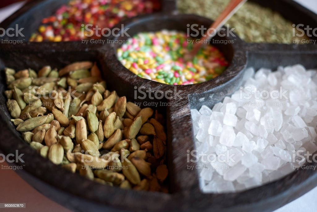 Mukhwas and Savouries (MOUTH FRESHENERS) stock photo
