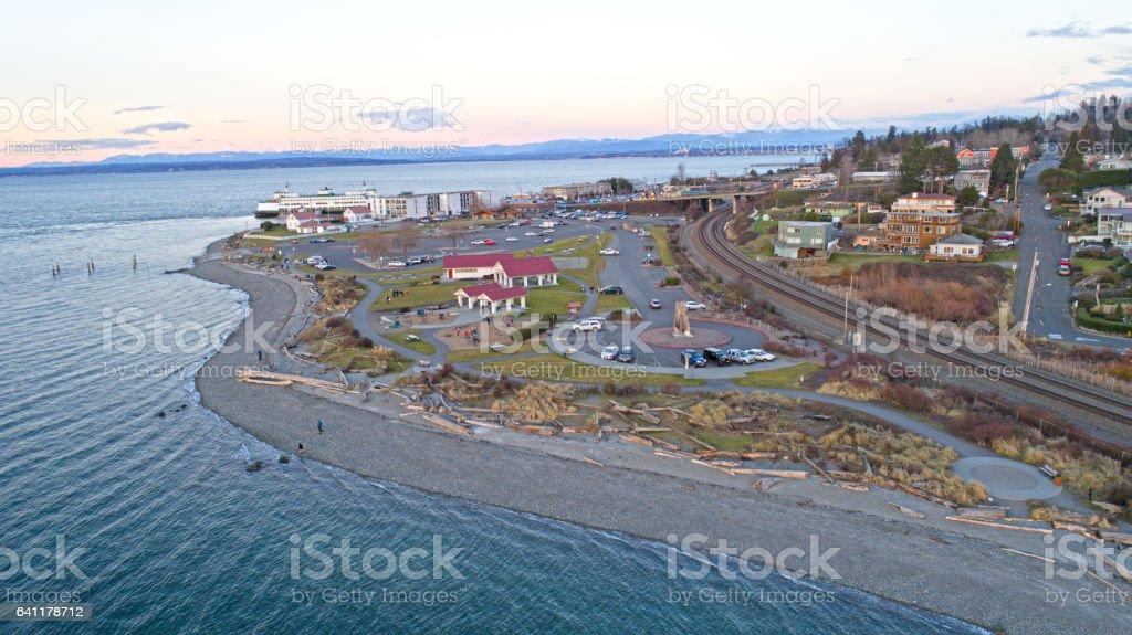 Mukilteo Beach Washington State Waterfront Landscape View stock photo