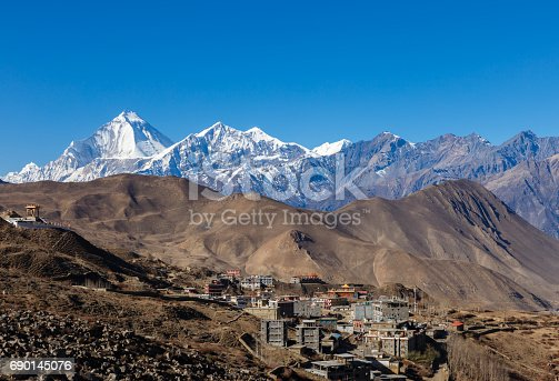 istock Muktinath village with Dhaulagiri 690145076