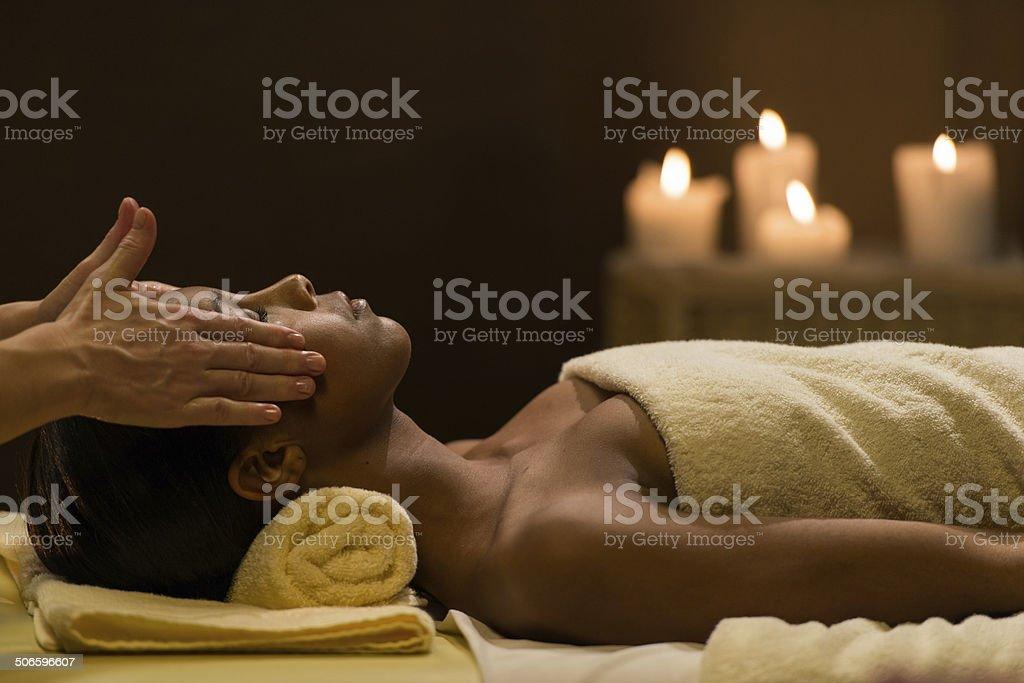 Mulatto Woman Having A Head Massage stock photo