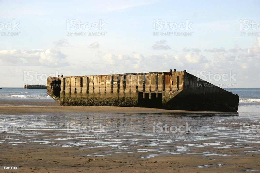 Mulberry harbour, Arromanches, Normandy royalty-free stock photo