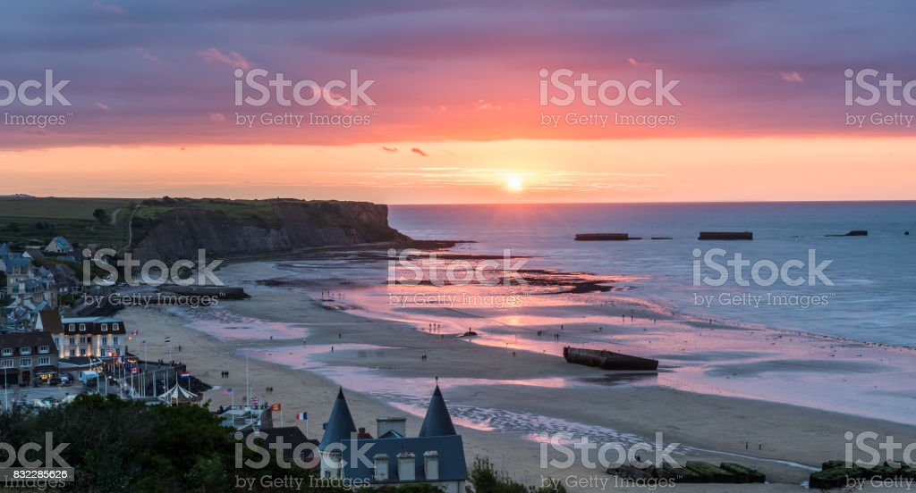 Mulberry Harbour at Arromanches stock photo