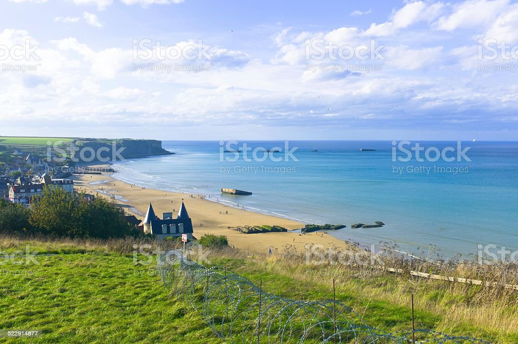 Mulberry Harbour in Arromanches, D-Day landings stock photo