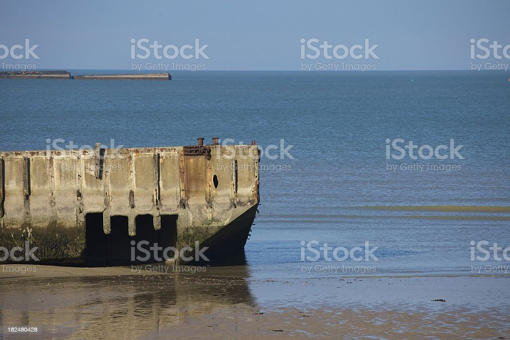 Mulberry Harbour in Arromanches, Normandy - France royalty-free stock photo