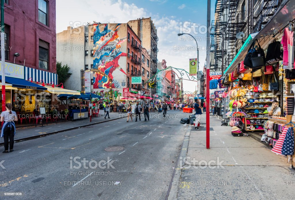 Mulberry Street, Manhattan, with people walking stock photo
