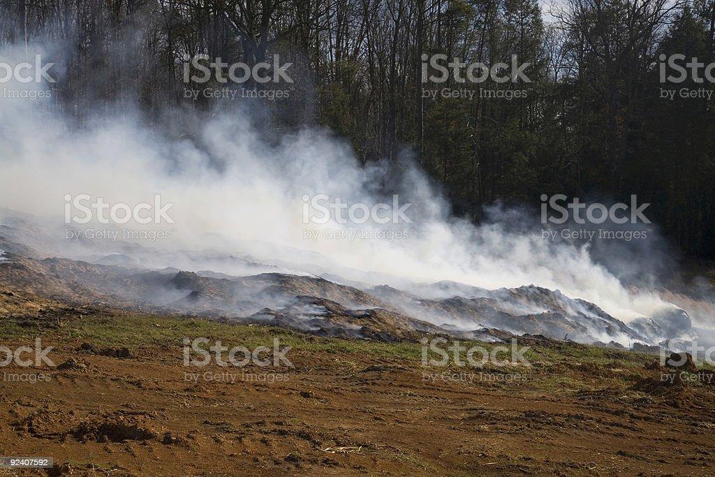 Mulch Fire stock photo
