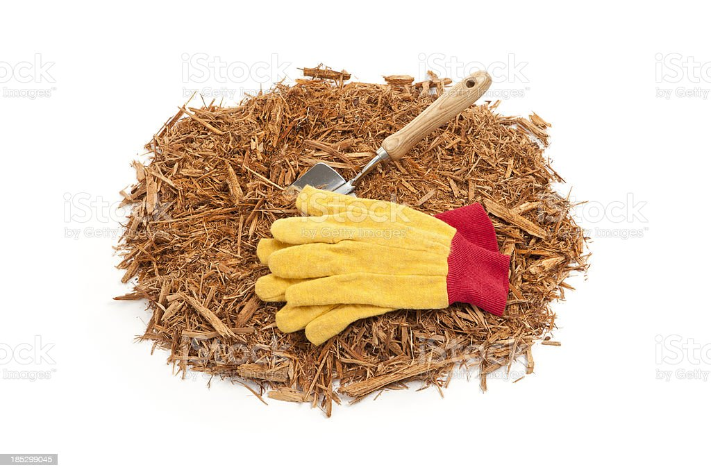 Mulch Gloves and Gardening Trowel royalty-free stock photo