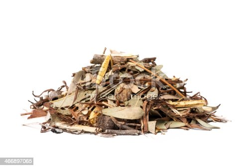 A pile of mulch made up of leaves and twigs on a white background.
