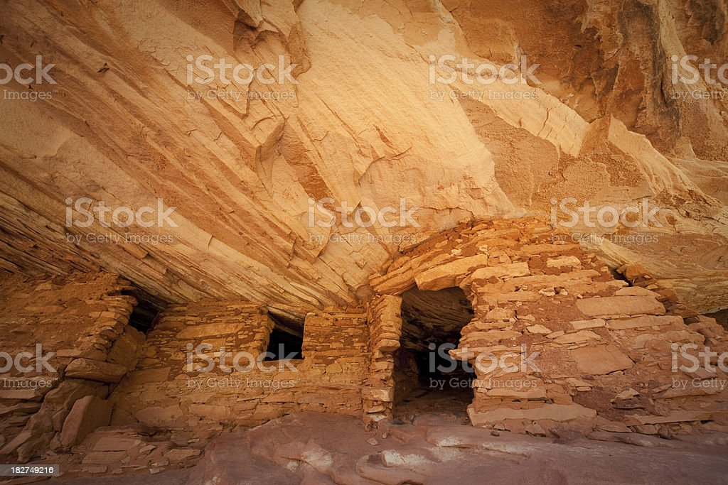 Mule Canyon Ruin and Colorful Wall stock photo